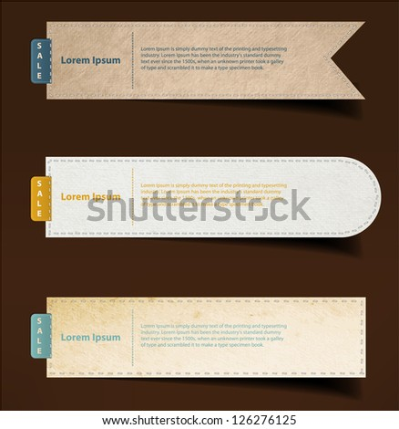 Set of paper, stickers, labels, tags. Vector template