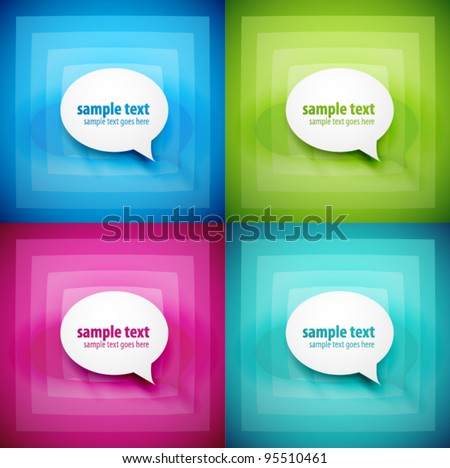 Set of paper sticky speech bubbles on color light backgrounds