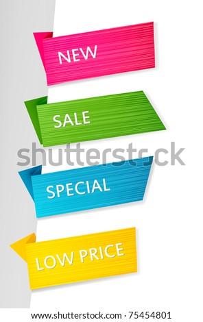 Set of paper tags. Vector background.