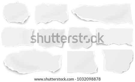 Set of paper tears of different shapes isolated on white background. Vector template.