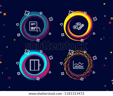 Set of Parcel invoice, Keywords and Lift icons. Trade infochart sign. Delivery document, Pencil with key, Elevator. Business analysis.  Circle banners with line icons. Gradient colors shapes. Vector