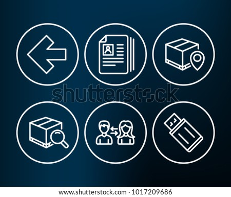 Set of Parcel tracking, Search package and People communication icons. Cv documents, Left arrow and Usb flash signs. Package location pin, Tracking service, People talking. Vector