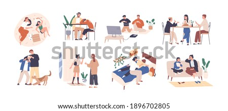 Set of parents and kids spending happy time together playing, talking and supporting children. Collection of family members in good relations. Flat vector illustration isolated on white background