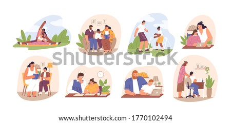Set of parents helping children do homework. Learning, studying process at home. Family read books, play football, write schoolwork in flat cartoon vector illustration isolated on white