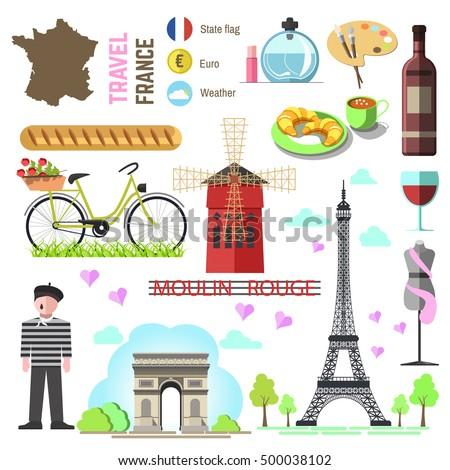 set of paris french symbols and ...
