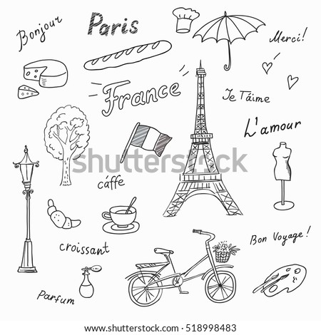 Royalty Free Stock Photos And Images Set Of Paris French Symbols