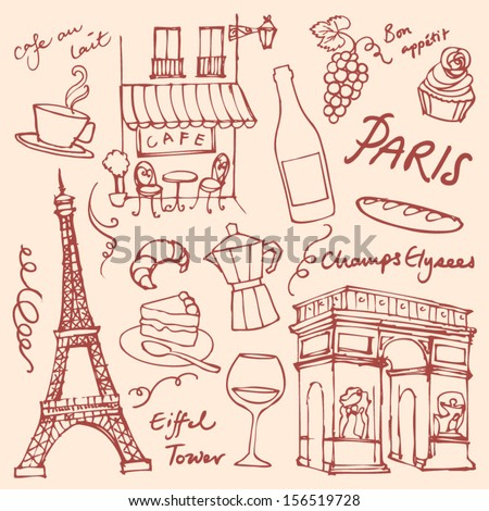 set of paris landmarks and