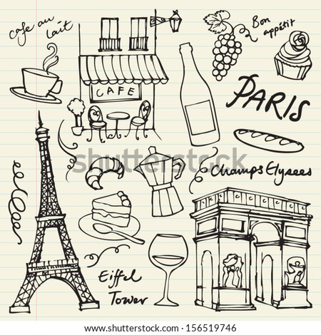 Set of Paris landmarks and icons doodle vector