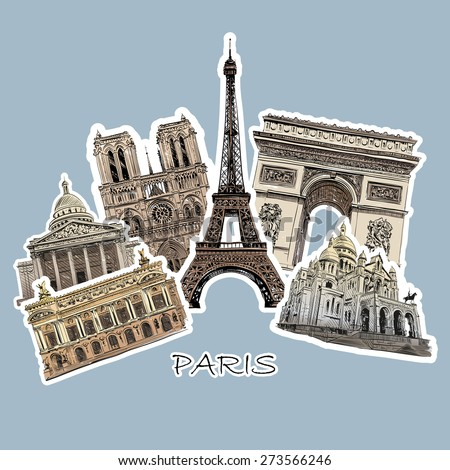 set of paris landmarks  vector