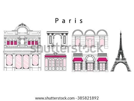 set of paris landmarks  vector