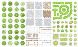 Set of park elements. (Top view) Collection for landscape design, plan, maps. (View from above) Fences, paths, flowers, flower beds and trees.