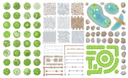 Set of park elements. (Top view) Collection for landscape design, plan, maps. (View from above) Fences, paths, stones, ponds and trees.