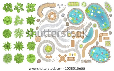 Set of park elements. (Top view) Collection for landscape design, plan, maps. (View from above) Trees, plants, paths, furniture, ponds, stones.