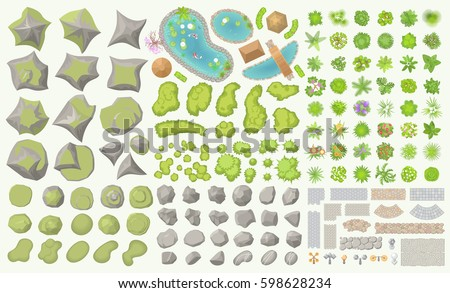 Set of park elements. (Top view) Collection for landscape design, plan, maps. (View from above) Hills, ponds, stones, plants, bushes, trees, paths, lanterns.