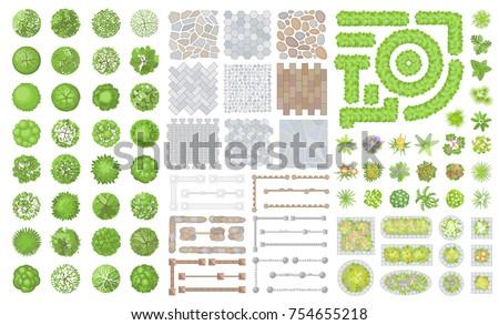 set of park elements  top view