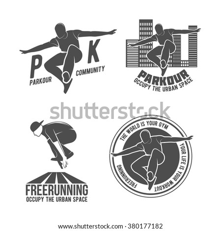 set of parkour icons  badges