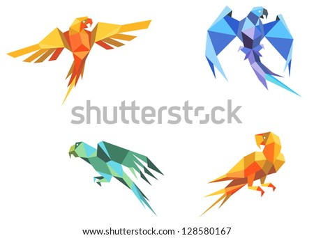 Set of parrots birds in origami paper style. Jpeg version also available in gallery