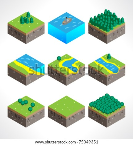 Set of Part of the map. Isometric.