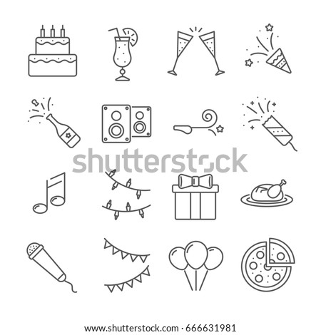 Set of party  Related Vector Line Icons. Contains such icon as cake, alcohol, glass, fireworks, poppers, champagne, music, garlands, gift, balloons, pizza
