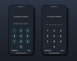 Set of pass code interface for lock screen login or enter password pages on smartphone. Screen Lock. Illustration vector
