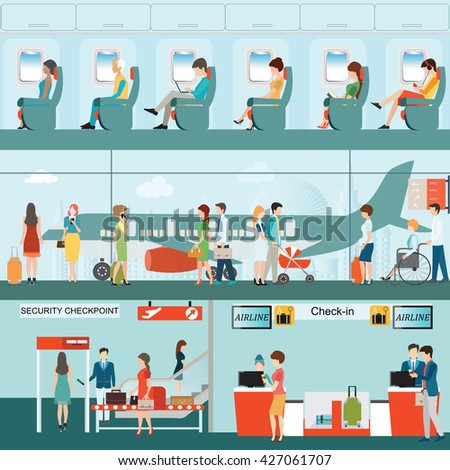 Set of Passenger airline at airport terminal with check in counter and security checkpoint, Airline interior with plane seat on the flight business travel vector illustration.