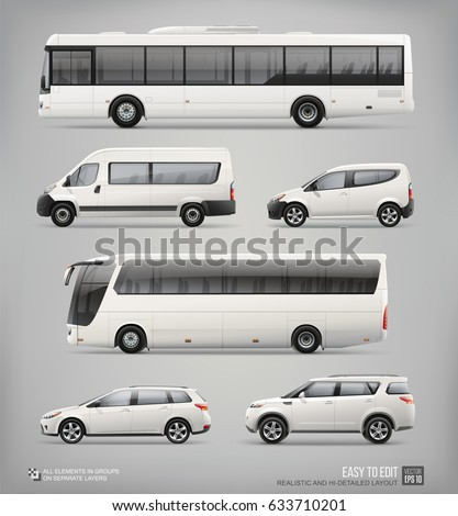 Set of Passenger City Transport - Mockup template for Corporate identity and Advertising design.Set of white passenger bus, Van, Freight Car, Coach Bus, Station wagon Car, Suv Car. Mock Up Vehicle
