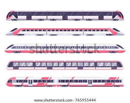 set of passenger train subway
