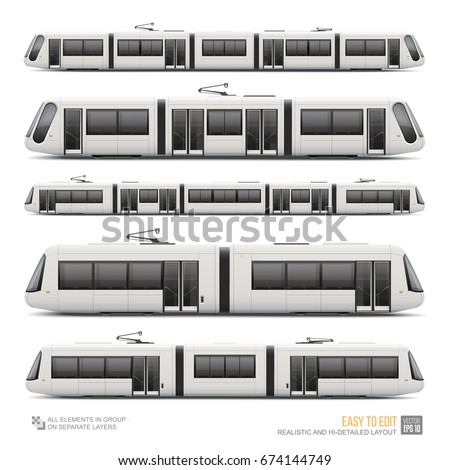 Set of Passenger Tram Train, Streetcar - vector mockup template. Modern Urban Tramcar, Light rail train mockup for advertising  design. Eco-friendly passenger railway vehicle isolated on white