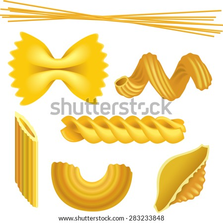 set of pasta shapes  macaroni