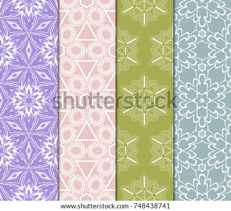 set of pastel geometric print. seamless vector iillustration #748438741