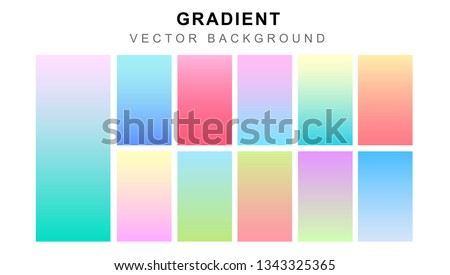 Set of pastel gradient colourful backgrounds. Modern display themes. Template design for mobile app vector