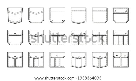 Set of patch pocket icons for pants and other clothing. Isolated line vector illustration on white background Foto stock ©