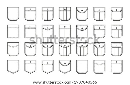 Set of patch pocket icons for shirts and other clothing. Isolated line vector illustration on white background Foto stock ©