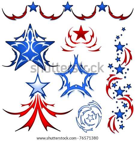 Set of patriotic american stars inspired by tribal tattoos