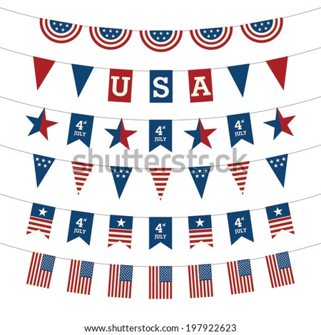 Set of Patriotic bunting flags. 4th of July American Flag for Independence Day.