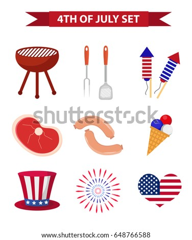 Set of patriotic icons Independence Day of America. July 4th collection of design elements, isolated on white background. National celebration, barbecue, BBQ.Vector illustration, clip art