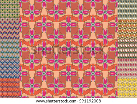 Set of pattern for brochure or poster design templates in abstract style. #591192008