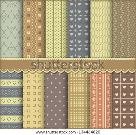Set of pattern paper for scrapbook or pack. Eps 10 vector seamless backgrounds. - stock vector