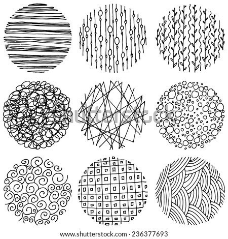 Set of patterned circles, hand drawn design elements.