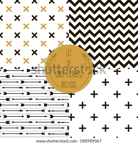 Set of  patterns. Set of simple seamless 4 black and white Scandinavian trend seamless pattern - black cross, chevrons, stripes, arrow.