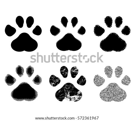 set of paw print. vector...