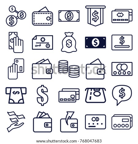 Set of 25 pay outline icons such as money dollar, credit card, wallet, atm money withdraw, wallet, dollar, cash payment, credit card payment #768047683