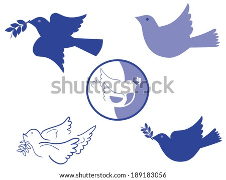Set of peace doves