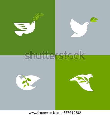 set of peace doves flat style
