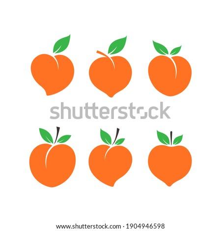 Set of Peach icon, Peach fruit, Cute Peach, Fresh Peach vector isolated on white background.