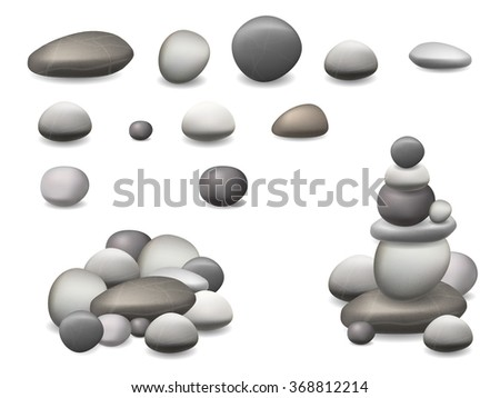 set of pebbles and natural