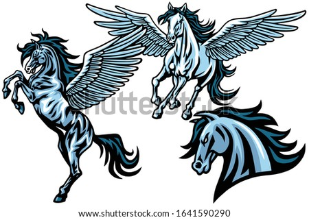 set of pegasus horse  mustang
