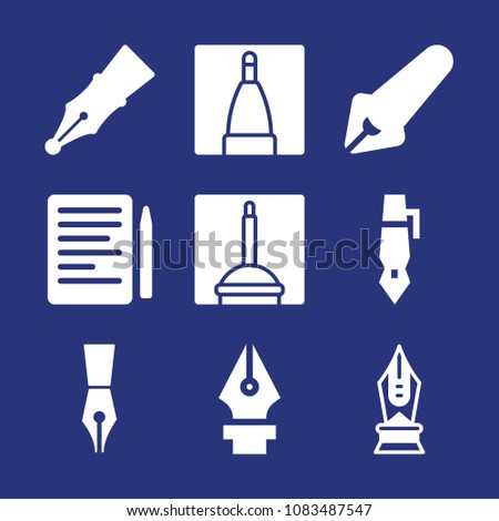 Set of 9 pen filled icons such as doc investments, calligraphy pen tip outline