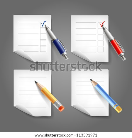 Set of pen, pencil and paper. Vector collection