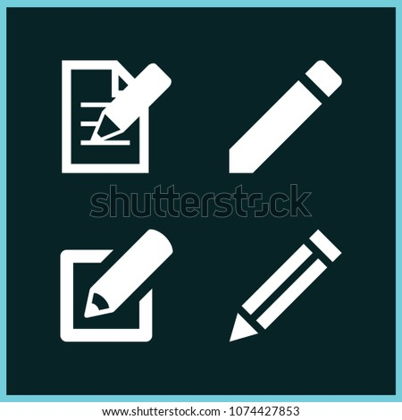 Set of 4 pencil filled icons such as edit, pencil #1074427853